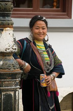 Black Hmong woman enjoying a soft drink in Sapa Vietnam   Flickr - Photo…