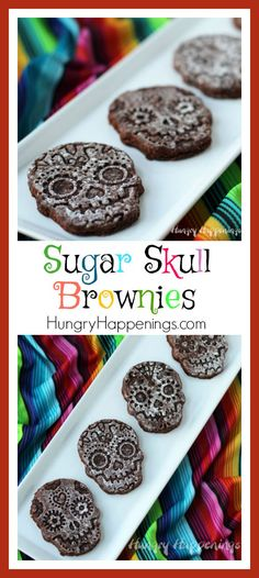 Turn a store bought brownie mix into the coolest Day of the Dead dessert. It's so easy to create these Sugar Skull Brownies using a cookie stamp and. Halloween Brownies, Halloween Desserts, Halloween Treats, Fun Desserts, Halloween Party, Zombie Party, Halloween Cookies, Halloween Stuff, Halloween Makeup