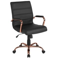 Gold Office, Black Office Chair, Swivel Office Chair, Rolling Office Chair, Office Inspo, Ergonomic Office Chair, Black Desk, Home Office Preto, Executive Office Chairs