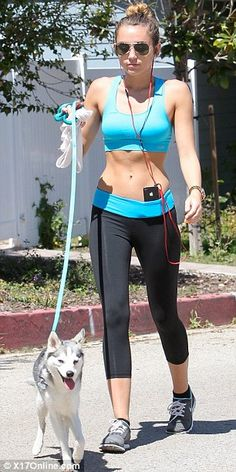 i have GOT to get a puppy to run with....also miley looks amazing lately.