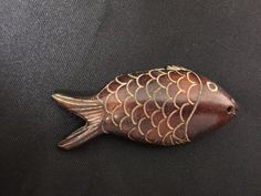 Antique Meiji period Japanese Netsuke Ojime Wooden carved fish red snapper