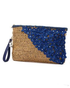 crochet clutch bag with flowers