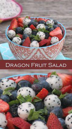 34 Dragon Fruit Recipes Healthy Snacks, Healthy Eating, Healthy Recipes, Fruit Recipes, Cooking Recipes, Delicious Food, Tasty, Pitaya, Salad Ideas