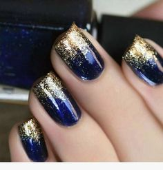 + 77 designs for trendy gel nails polish colors 2018 creative nails, blue gold nails Gel Nail Polish Colors, Nail Colors, Gel Polish, Pedicure Colors, Navy Nail Polish, Nail Polish Hacks, Glitter Nail Polish, Blue Colors, Nail Tips