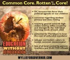 common core is rotten to the core. dc bureaucrats do not know what is best for our children. data mining tracks our children from cradle to grave. high stakes testing takes all creativity away from teachers and students alike. common core is education without representation.