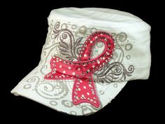★ This is a High Quality White Breast Cancer Cadet Cap! Its a Vintage Distressed, Military Army Style Castro Hat, from Leader. Its Embroidered with Pink Breast Cancer Ribbon with Gray Print and White and Gray Stitching! [$12.97]