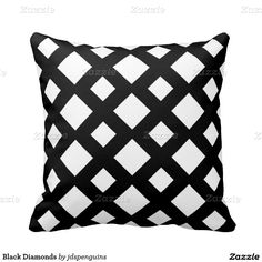Black Diamonds Throw Pillows - Great to add to any room decor of black and white! #black #white #pillows