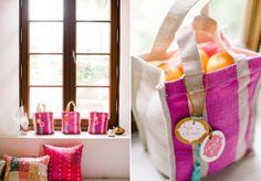 pink wedding favor bags