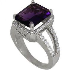 Emerald Cut Amethyst Set In Vintage Diamond Ring With by Dacarli
