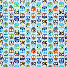 blue owl flannel fabric by Timeless Treasures