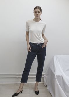 Lone in Stockholm T-shirt and Casual Denim http://www.toteme-nyc.com/shop/ss16/stockholm-t-shirt