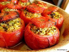 Stuffed Tomatoes With Rice & Herbs - Kalofagas - Greek Food & Beyond