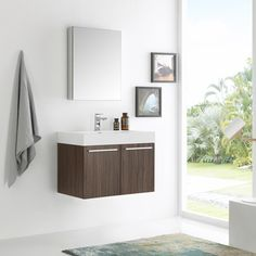 Fresca Vista Walnut/Chrome MDF/Aluminum/Glass 30-inch Wall-hung Modern Bathroom Vanity with Medicine Cabinet