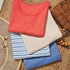 It's tee shirt time. Cute 4-pack of casual women's tee-shirts. Stock up on freshly hued wardrobe basics. FEATURES• Rounded neckline• Short sleeves• 4-pack of tees• Small breast pocket