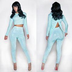 Blue Sequins Pant Set outfit
