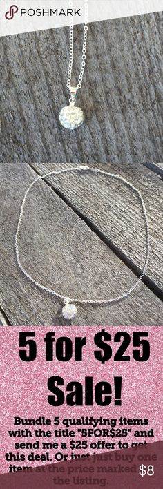 🎉5/$25🎉 Rhinestone Crystal Statement Necklace Dainty Minimalist Rhinestone Crystal Silver Tone Necklace  All jewelry comes in organza gift bag.   See my other listings with 5 for $25 SALE and save on a bundle! Lots of bags, jewelry and new boutique items. Great for gift giving. I love accepting offers. Boutique Jewelry Necklaces