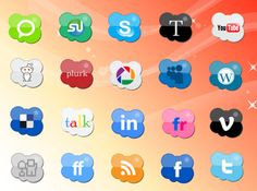 multi-colored cloud-shaped icons