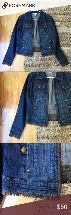 Cabi Denim Jacket Sz. S Worn gently and in great condition. Size small from CABI. It's got brown fringe trim and is so pretty to throw on for every day. Please ask any questions. CAbi Jackets & Coats