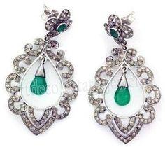 3.90cts ROSE CUT DIAMOND EMERALD .925 STERLING SILVER DANGLER EARRING #artdeco_estate_jewels