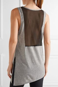 Gray stretch-jersey, black mesh Slips on 85% polyester, 15% Lyocell; trim: 82% polyester, 18% elastane Machine wash Imported