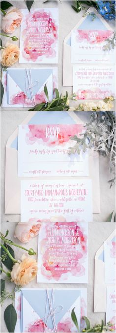 Watercolor invitations, wedding paper suite, pink & blue, striped twine, flowers // Stewart Imagery