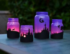 Turn mason jars into a set of fairy-tale lanterns with silhouettes of fairies and unicorns! Wine Bottle Crafts, Mason Jar Crafts, Mason Jar Diy, Wine Bottle Art, Diy Bottle, Mason Jar Lanterns, Mason Jar Lighting, Fairy Lanterns, Fairy Jars