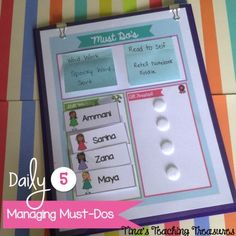 Managing your Must-Do activities during Daily 5! Increasing accountability with this cute FREEBIE from Tina's Teaching Treasures!