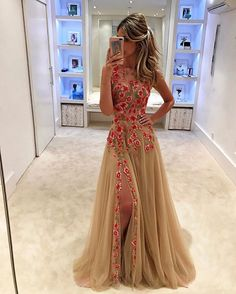 Find More Prom Dresses Information about Hot Sale Embroidery champagne Prom Dresses robe de soiree Latest tulle Sexy side Slit sleeveless evening dress vestido de festa ,High Quality Prom Dresses from BRLMALL GracefulBridal Store on Aliexpress.com