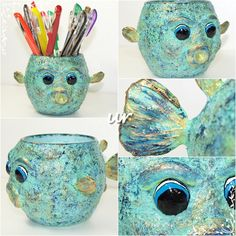 Fish pencil holder - glass, paper-mache paste, acrylic paint, varnish