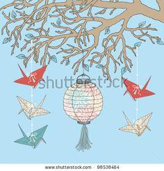 Paper cranes and paper lantern hanging on tree branch - stock vector