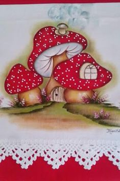 Janja croche: Pintura em Tecido Mushroom Crafts, Mushroom Art, Tole Painting, Fabric Painting, Fabric Paint Shirt, Diy And Crafts, Crafts For Kids, Paper Crafts, Hand Embroidery