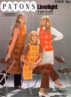 Genuine Vintage 1970s LIMELIGHT Ladies Granny Square Waistcoats Crochet Pattern Lacy Motif set of '3' very KITSCH