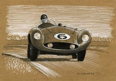 """Mike Hawthorn racing a Ferrari 750 Monza at Goodwood 1955. I did this sketch between busy spells at work today. It's based on a photo by Louis Klemantaski from his and Michael Frostick's book """"Racing Sports Cars"""". Pen & ink and white markers on 9""""x 6.25"""" medium brown paper.  © Paul Chenard 2017 Original art available, as are limited editions."""