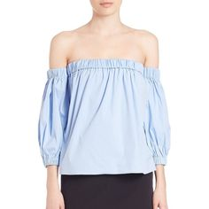 MILLY Off-Shoulder Blouse (403 CAD) ❤ liked on Polyvore featuring tops, blouses, apparel & accessories, off shoulder tops, 3/4 sleeve blouse, blue off the shoulder top, off shoulder blouse and blue top