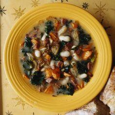 Chunky White Bean Soup with Pan-Fried Salami Recipe - David Ansel | Food & Wine