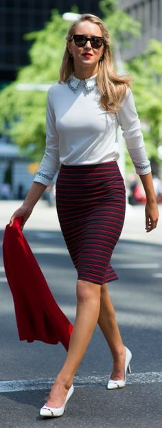 Ann Taylor Black And Red Striped Chic Pencil Skirt by The Classy Cubicle