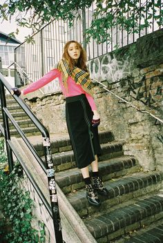 Lee Sung Kyung wears Burberry pieces styled with The Burberry Bandana in Vintage check cashmere. Photographed by Mok Jung Wook for the December issue of Marie Claire KR
