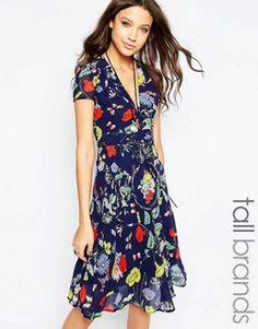 Glamorous Tall Bright Floral Print Midi Skater Tea Dress