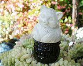 Vintage Avon Perfume Bottle Kitty Basket