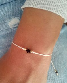 Star bracelet, wish bracelet, friendship bracelet, sterling silver bracelet, gift jewelry Minimalist bracelet, everyday bracelet!! Hematite is a stone that is most commonly used from protection because is very grounding and calming! This listing is for one bracelet. Details : ♥