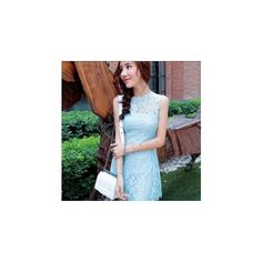 Sleeveless Lace A-Line Dress ($43) ❤ liked on Polyvore