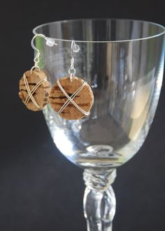 Wire Wrapped Wine Cork Earrings. $7.00, via Etsy. I could totally make these!