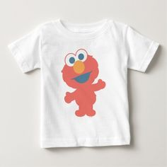 Baby Elmo Baby T-Shirt. Personalize your very own Sesame Street merchandise with your name or message. Here is a wide selection of cute merchandise for the whole family. Baby Shirts, Kids Shirts, Onesies, Baby Elmo, Elmo Sesame Street, Thanksgiving Baby, November Thanksgiving, Christmas Baby, Christmas Design