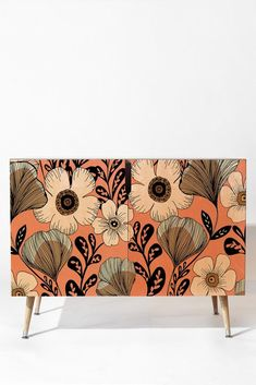 Buy Credenza with Maxi Floral designed by Gabriela Fuente. One of many amazing home décor accessories items available at Deny Designs. Hand Painted Furniture, Funky Furniture, Refurbished Furniture, Art Furniture, Plywood Furniture, Repurposed Furniture, Furniture Makeover, Furniture Design, Interior Decorating