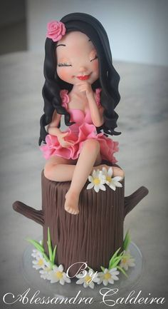 this is ridiculously good! Fondant Figures, Fondant Toppers, Fondant Cakes, Cupcake Cakes, Fondant People, Fondant Tutorial, Sugar Craft, Novelty Cakes, Girl Cakes