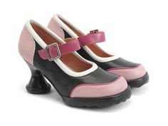 Fluevog Shoes | Shop | Gorgeous (Black & Pink) | Low-Heeled Mary Jane