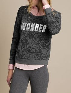 Sweat jacquard fleuri Wonder gris anthracite