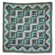 Patch Magic Log Cabin Cotton Throw Quilt