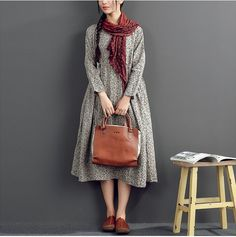 Cotton linen loose fitting long sleeve dress