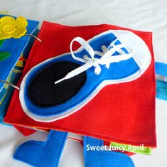 Shoe Tying Quiet Book Page by SweetJuicyApril on Etsy